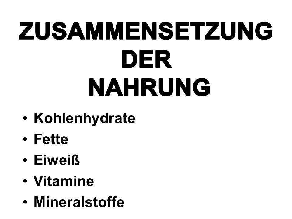 Kohlenhydrate Fette Eiweiß Vitamine Mineralstoffe