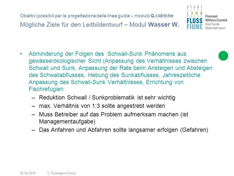 30.09.20103. Flussraum-Forum Mögliche Ziele für den Leitbildentwurf – Modul Wasser W.