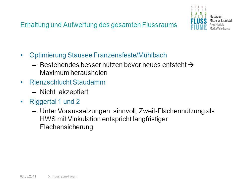 03.05.20115. Flussraum-Forum Erhaltung und Aufwertung des gesamten Flussraums Optimierung Stausee Franzensfeste/Mühlbach –Bestehendes besser nutzen be