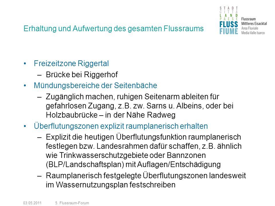 03.05.20115. Flussraum-Forum Erhaltung und Aufwertung des gesamten Flussraums Freizeitzone Riggertal –Brücke bei Riggerhof Mündungsbereiche der Seiten