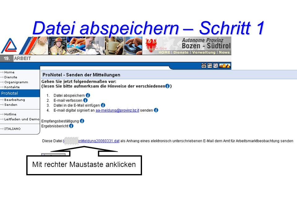 Mit rechter Maustaste anklicken Datei abspeichern – Schritt 1