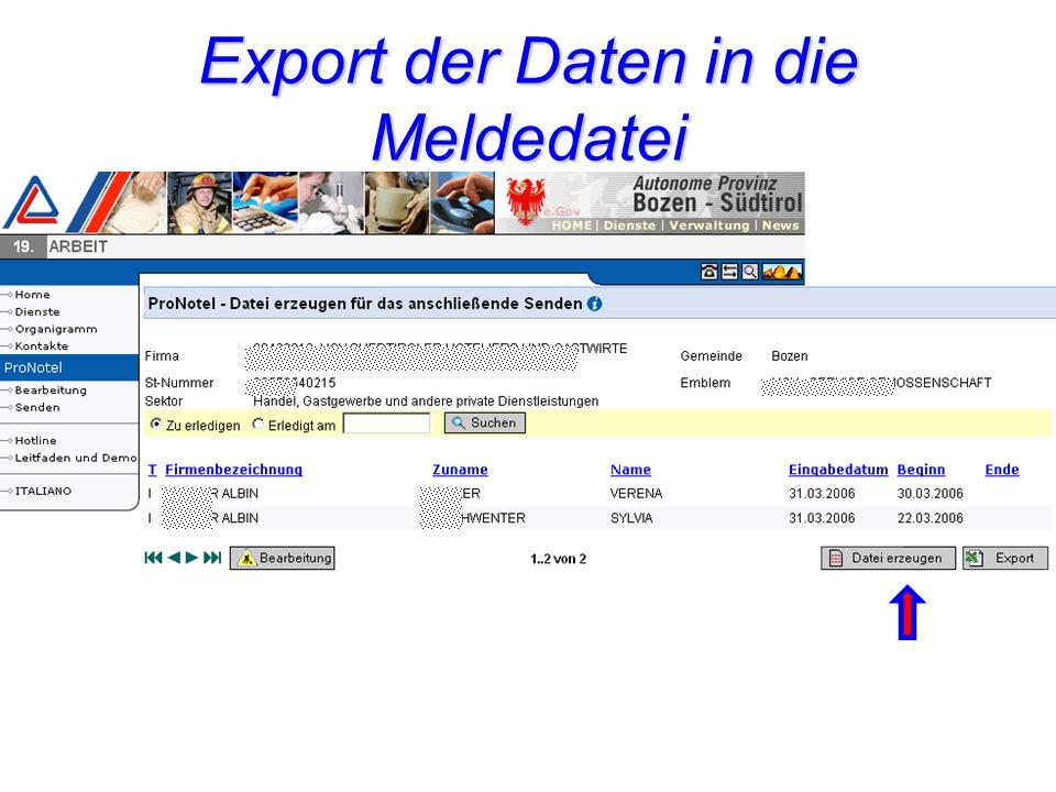 Export der Daten in die Meldedatei