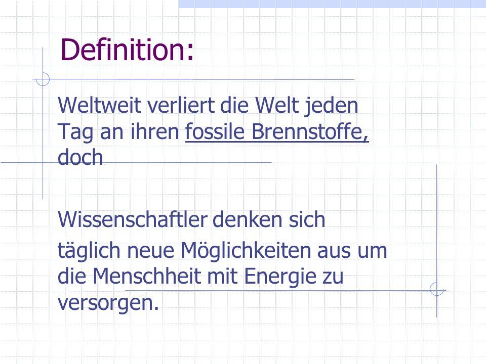 Fazit Wie sie erkennen könnten werde regenerative Energiequellen für die Zukunft immer unentbehrlicher.