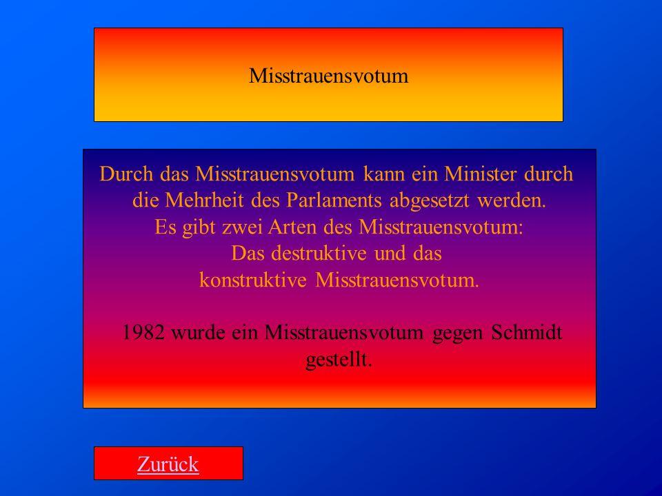 Durch das Misstrauensvotum kann ein Minister durch die Mehrheit des Parlaments abgesetzt werden. Es gibt zwei Arten des Misstrauensvotum: Das destrukt