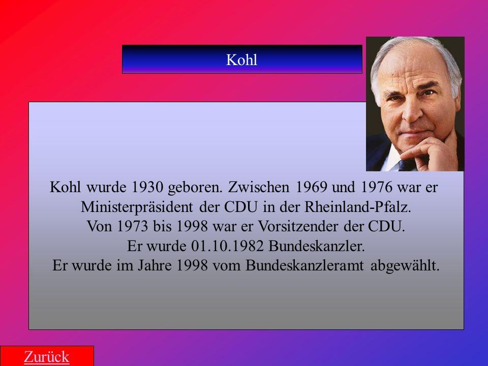 Kohl Kohl wurde 1930 geboren. Zwischen 1969 und 1976 war er Ministerpräsident der CDU in der Rheinland-Pfalz. Von 1973 bis 1998 war er Vorsitzender de