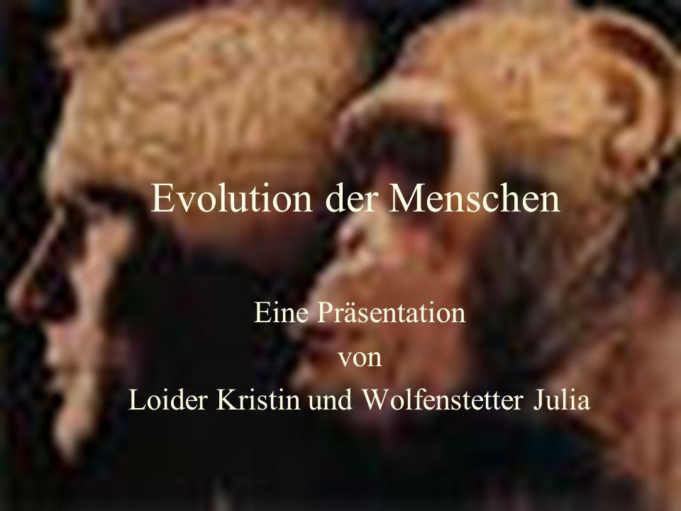 Evolution der Menschen Eine Präsentation von Loider Kristin und Wolfenstetter Julia