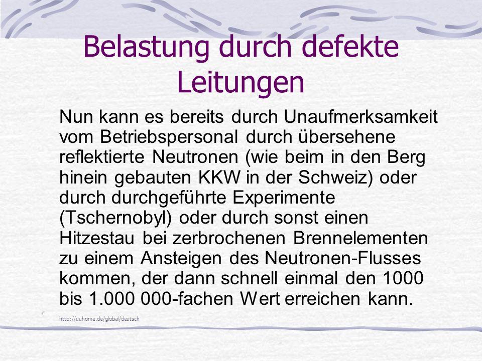 Belastung durch defekte Leitungen Nun kann es bereits durch Unaufmerksamkeit vom Betriebspersonal durch übersehene reflektierte Neutronen (wie beim in den Berg hinein gebauten KKW in der Schweiz) oder durch durchgeführte Experimente (Tschernobyl) oder durch sonst einen Hitzestau bei zerbrochenen Brennelementen zu einem Ansteigen des Neutronen-Flusses kommen, der dann schnell einmal den 1000 bis 1.000 000-fachen Wert erreichen kann.
