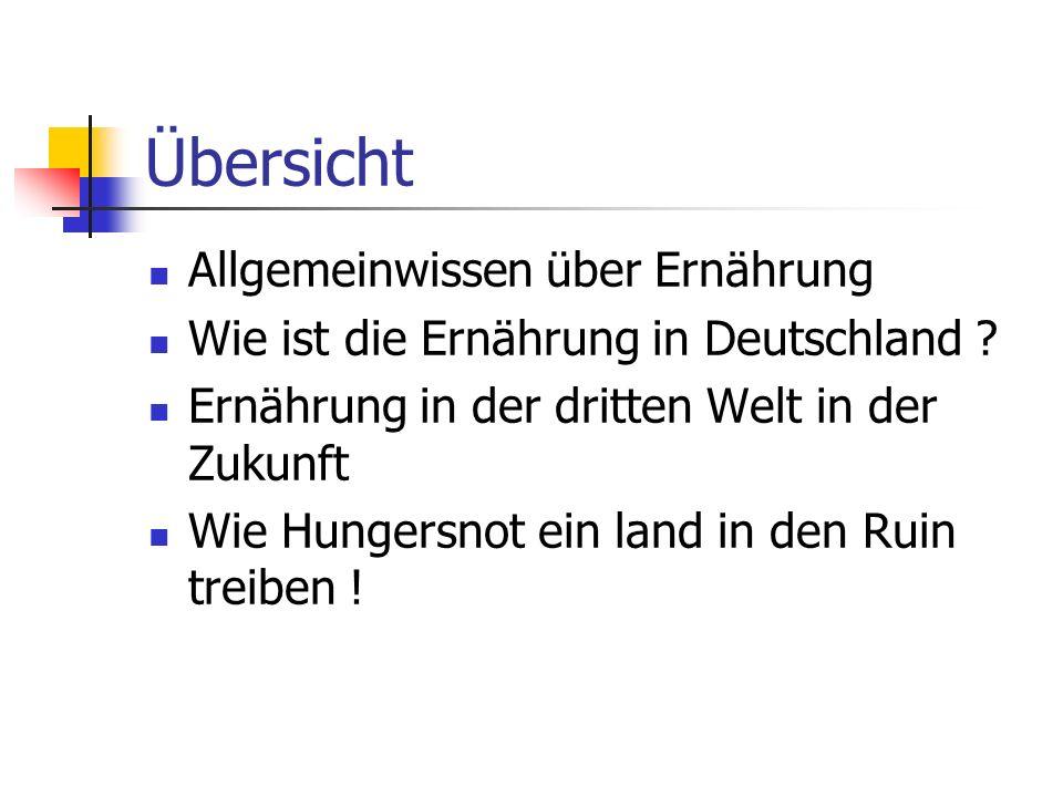 Übersicht Allgemeinwissen über Ernährung Wie ist die Ernährung in Deutschland ? Ernährung in der dritten Welt in der Zukunft Wie Hungersnot ein land i