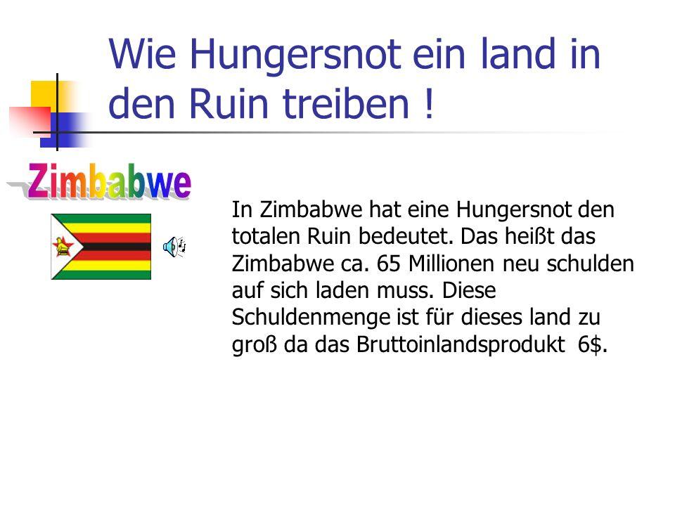 Wie Hungersnot ein land in den Ruin treiben ! In Zimbabwe hat eine Hungersnot den totalen Ruin bedeutet. Das heißt das Zimbabwe ca. 65 Millionen neu s