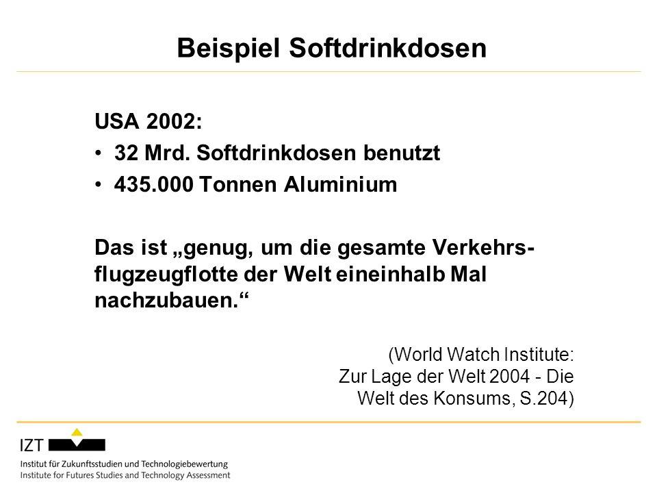 Beispiel Softdrinkdosen USA 2002: 32 Mrd.