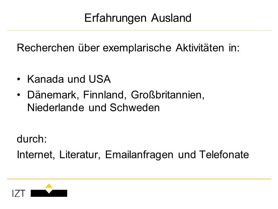 Erfahrungen Ausland Recherchen über exemplarische Aktivitäten in: Kanada und USA Dänemark, Finnland, Großbritannien, Niederlande und Schweden durch: Internet, Literatur, Emailanfragen und Telefonate