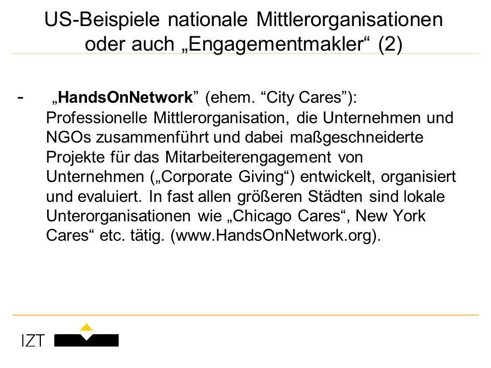 US-Beispiele nationale Mittlerorganisationen oder auch Engagementmakler (2) -HandsOnNetwork (ehem.