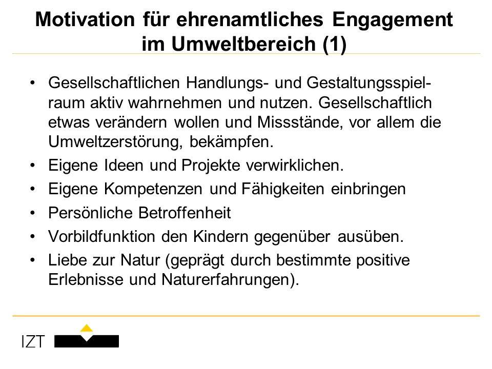 Motivation für ehrenamtliches Engagement im Umweltbereich (1) Gesellschaftlichen Handlungs- und Gestaltungsspiel- raum aktiv wahrnehmen und nutzen.