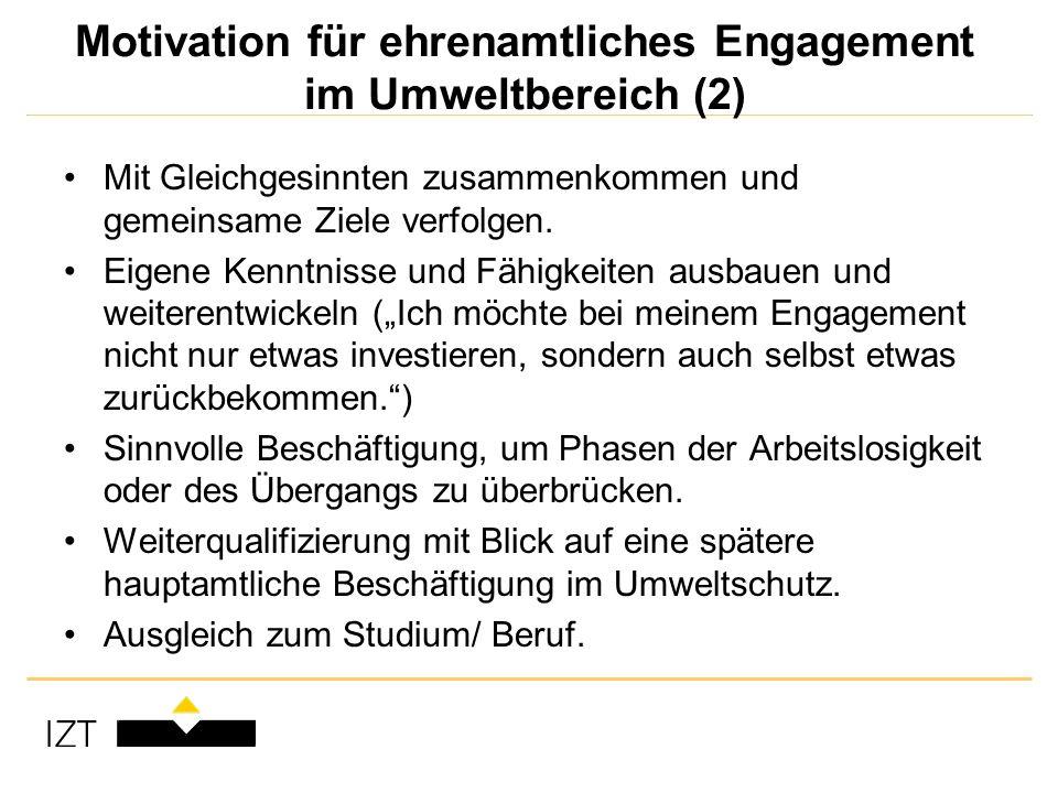 Motivation für ehrenamtliches Engagement im Umweltbereich (2) Mit Gleichgesinnten zusammenkommen und gemeinsame Ziele verfolgen.