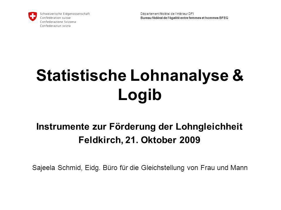Département fédéral de l intérieur DFI Bureau fédéral de l égalité entre femmes et hommes BFEG Statistische Lohnanalyse & Logib Sajeela Schmid, Eidg.