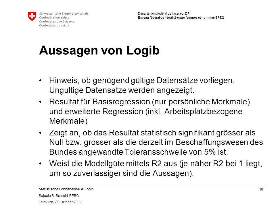 10 Statistische Lohnanalyse & Logib Sajeela R.Schmid, BEBG Feldkirch, 21.