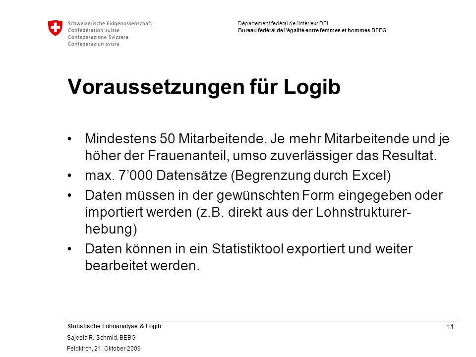 11 Statistische Lohnanalyse & Logib Sajeela R.Schmid, BEBG Feldkirch, 21.