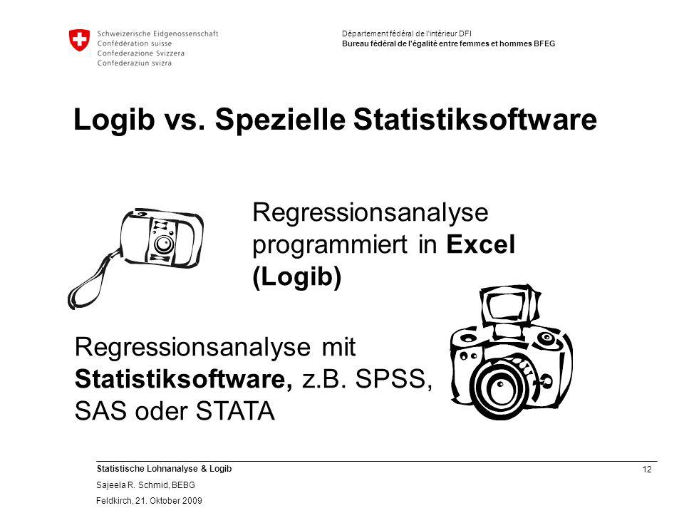 12 Statistische Lohnanalyse & Logib Sajeela R.Schmid, BEBG Feldkirch, 21.