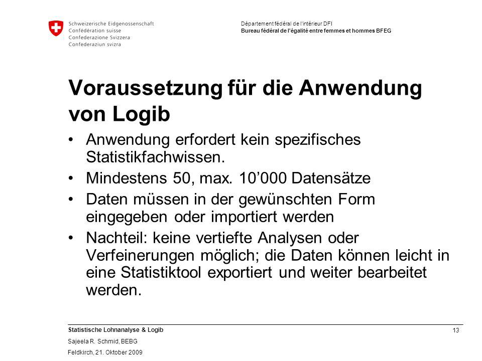 13 Statistische Lohnanalyse & Logib Sajeela R.Schmid, BEBG Feldkirch, 21.