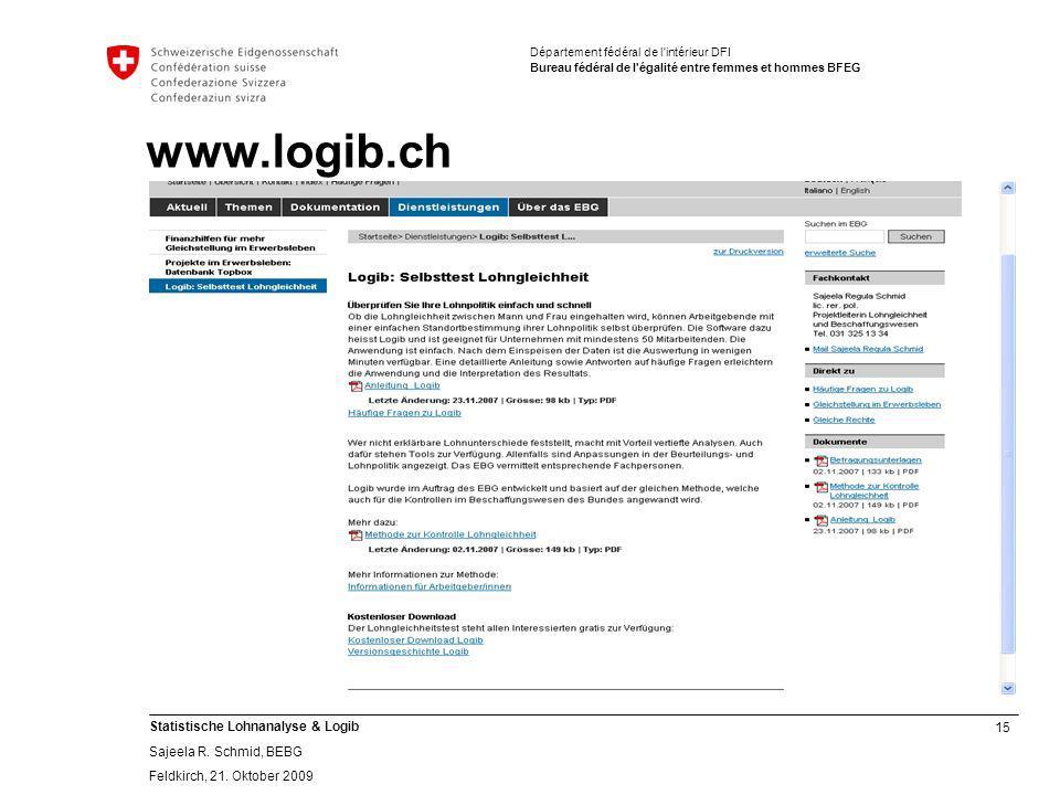 15 Statistische Lohnanalyse & Logib Sajeela R.Schmid, BEBG Feldkirch, 21.