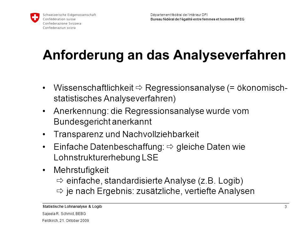 3 Statistische Lohnanalyse & Logib Sajeela R.Schmid, BEBG Feldkirch, 21.