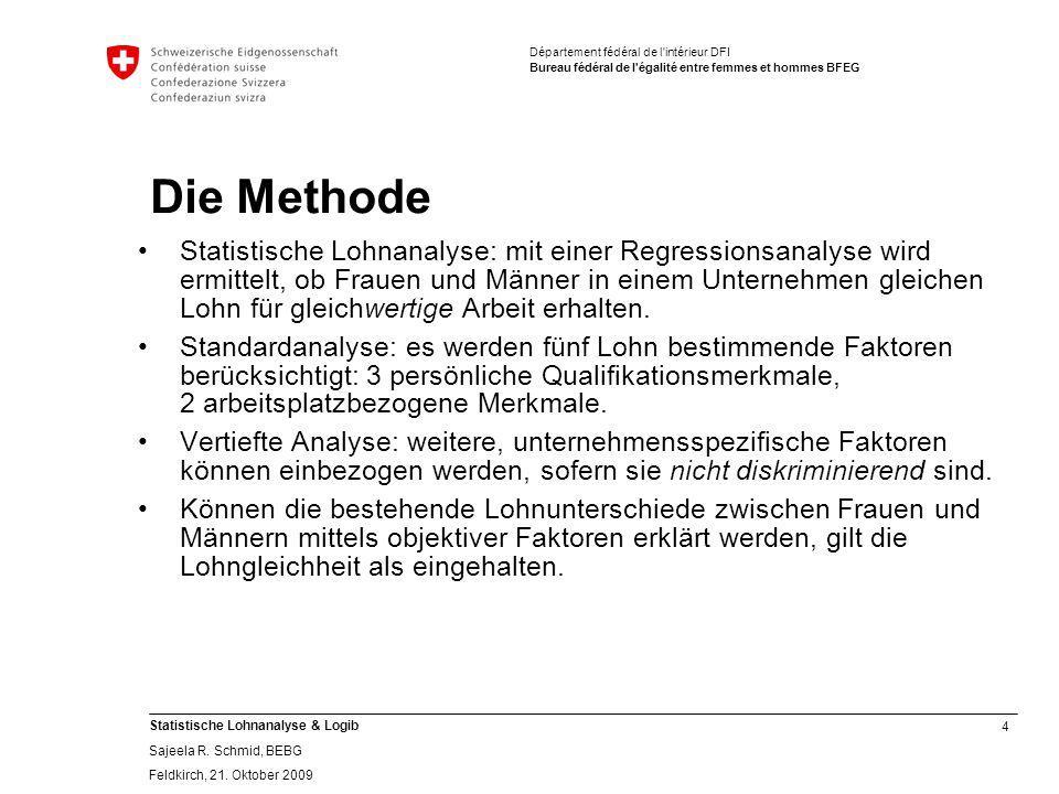 4 Statistische Lohnanalyse & Logib Sajeela R.Schmid, BEBG Feldkirch, 21.
