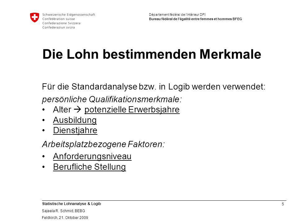 5 Statistische Lohnanalyse & Logib Sajeela R.Schmid, BEBG Feldkirch, 21.