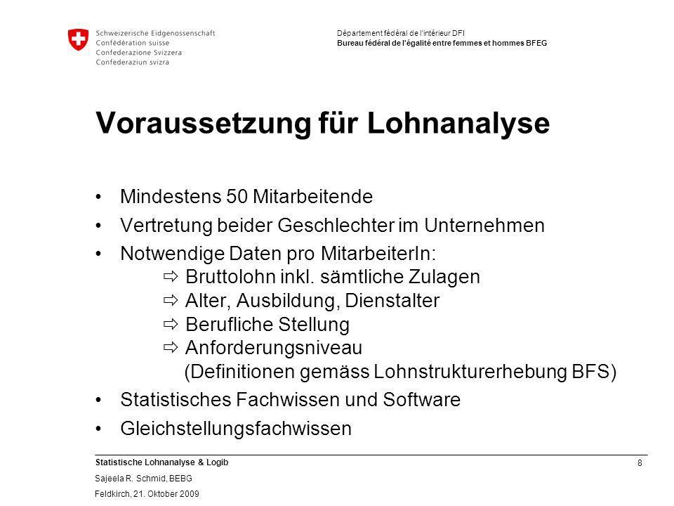 8 Statistische Lohnanalyse & Logib Sajeela R.Schmid, BEBG Feldkirch, 21.