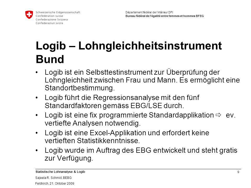 9 Statistische Lohnanalyse & Logib Sajeela R.Schmid, BEBG Feldkirch, 21.