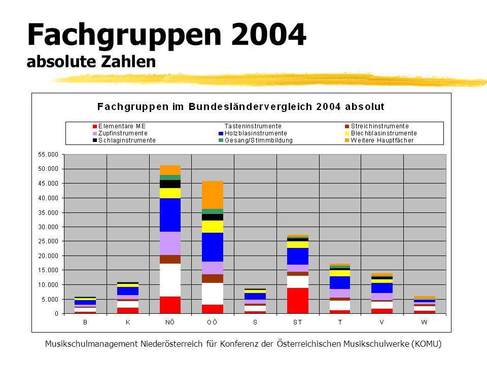 Fachgruppen 2004 absolute Zahlen Musikschulmanagement Niederösterreich für Konferenz der Österreichischen Musikschulwerke (KOMU)