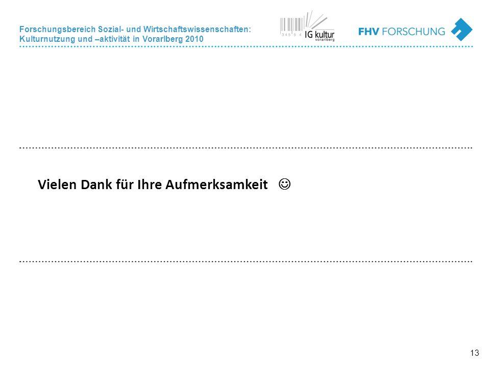 Forschungsbereich Sozial- und Wirtschaftswissenschaften: Kulturnutzung und –aktivität in Vorarlberg 2010 13 Vielen Dank für Ihre Aufmerksamkeit