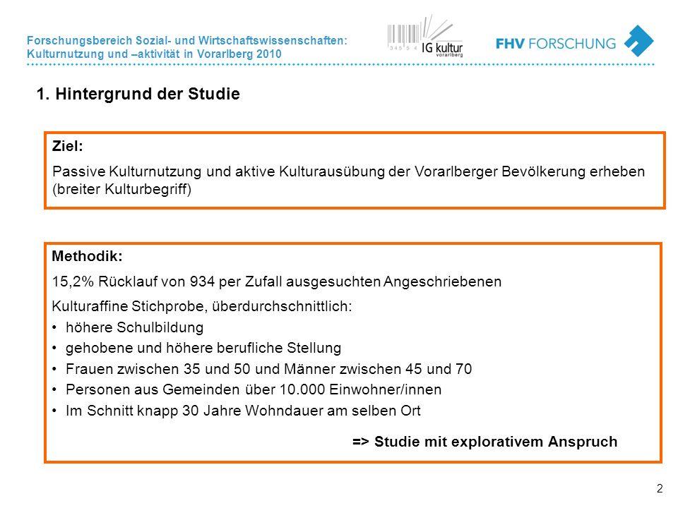 Forschungsbereich Sozial- und Wirtschaftswissenschaften: Kulturnutzung und –aktivität in Vorarlberg 2010 2 1.