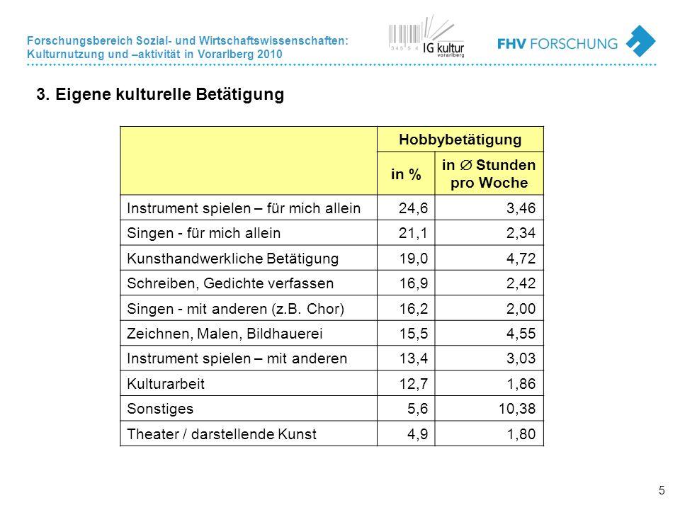 Forschungsbereich Sozial- und Wirtschaftswissenschaften: Kulturnutzung und –aktivität in Vorarlberg 2010 5 3.