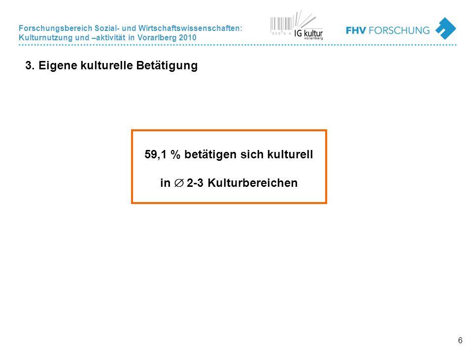 Forschungsbereich Sozial- und Wirtschaftswissenschaften: Kulturnutzung und –aktivität in Vorarlberg 2010 6 3.