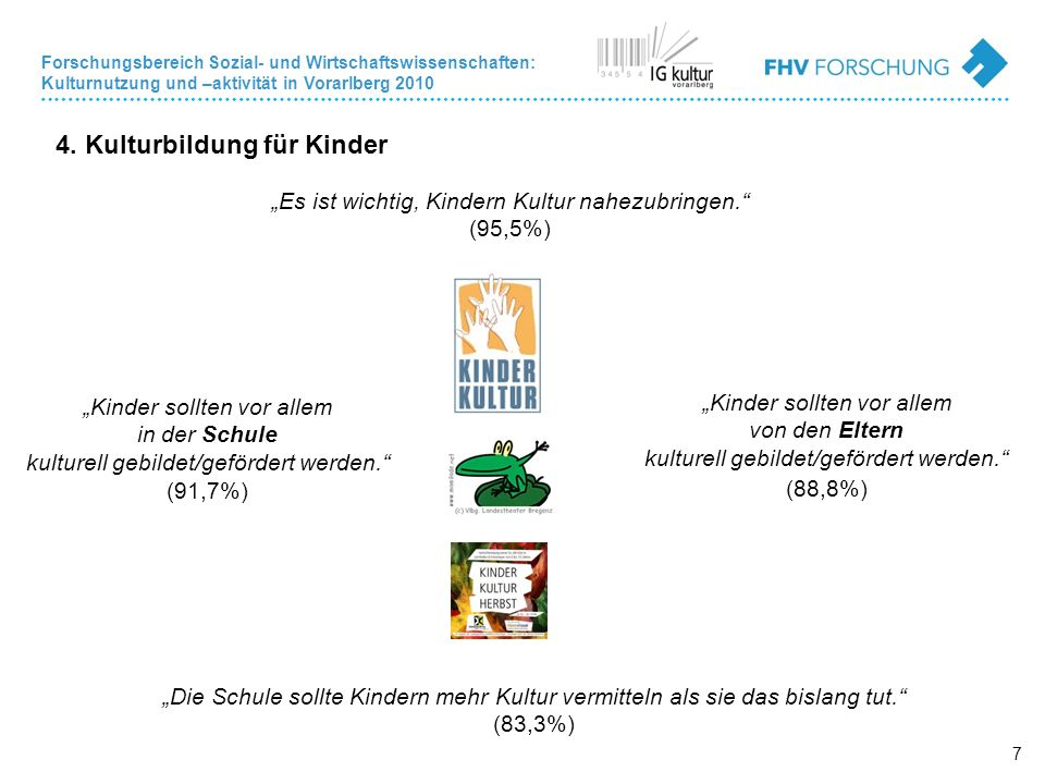 Forschungsbereich Sozial- und Wirtschaftswissenschaften: Kulturnutzung und –aktivität in Vorarlberg 2010 7 4.