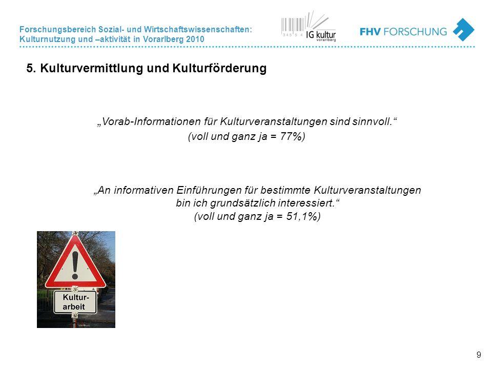 Forschungsbereich Sozial- und Wirtschaftswissenschaften: Kulturnutzung und –aktivität in Vorarlberg 2010 9 5.