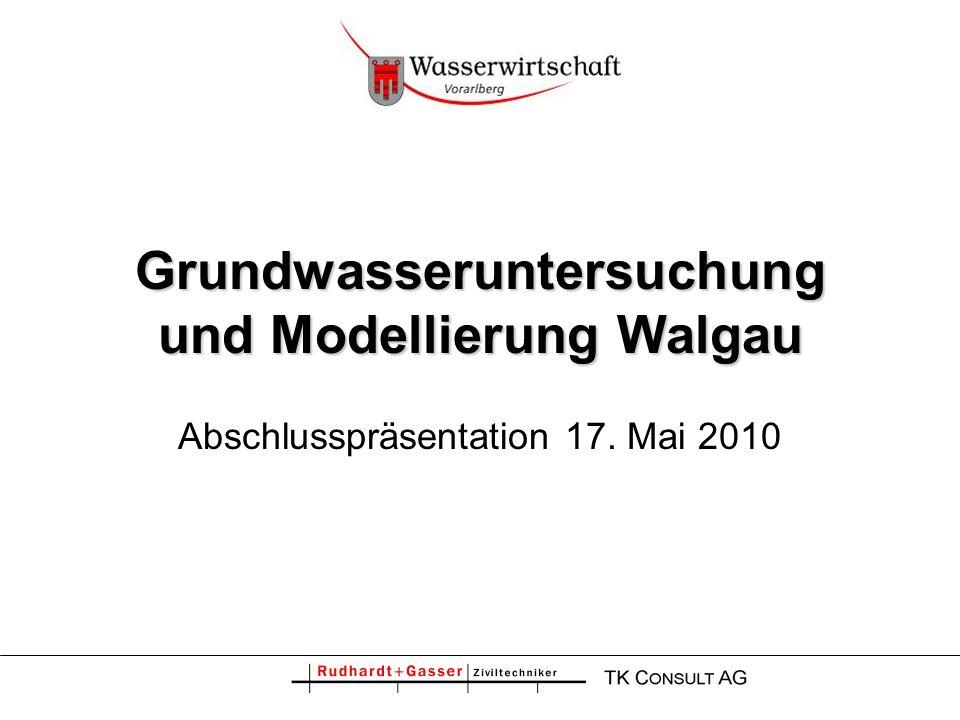 2 Grundwasseruntersuchung und Modellierung Walgau Grundlagen Kalibrierung Validierung Bilanzierung Modellanwendung –Trinkwasserversorgung –Kühlwassereinleitungen –Nassbaggerungen –Retentionsflächen