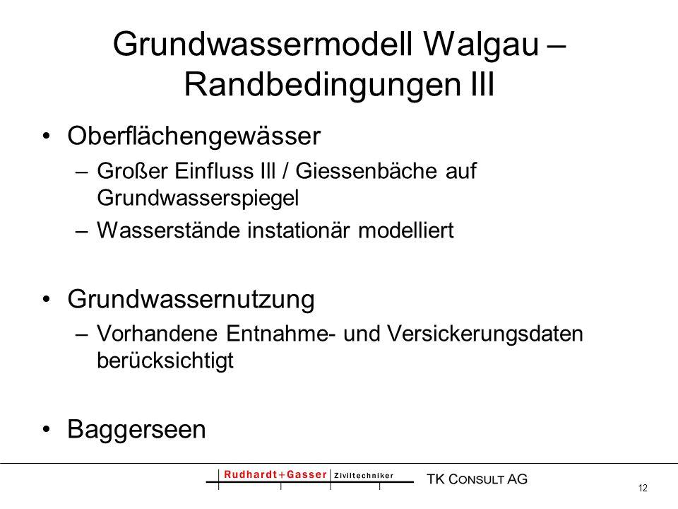 12 Grundwassermodell Walgau – Randbedingungen III Oberflächengewässer –Großer Einfluss Ill / Giessenbäche auf Grundwasserspiegel –Wasserstände instati