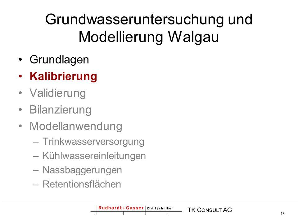 13 Grundwasseruntersuchung und Modellierung Walgau Grundlagen Kalibrierung Validierung Bilanzierung Modellanwendung –Trinkwasserversorgung –Kühlwasser