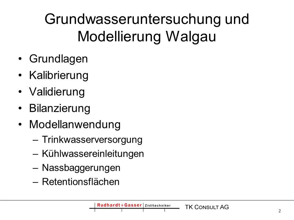 13 Grundwasseruntersuchung und Modellierung Walgau Grundlagen Kalibrierung Validierung Bilanzierung Modellanwendung –Trinkwasserversorgung –Kühlwassereinleitungen –Nassbaggerungen –Retentionsflächen