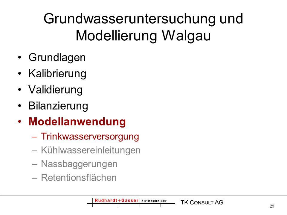 29 Grundwasseruntersuchung und Modellierung Walgau Grundlagen Kalibrierung Validierung Bilanzierung Modellanwendung –Trinkwasserversorgung –Kühlwasser