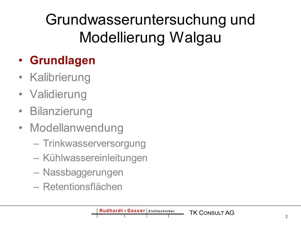 3 Grundwasseruntersuchung und Modellierung Walgau Grundlagen Kalibrierung Validierung Bilanzierung Modellanwendung –Trinkwasserversorgung –Kühlwassere