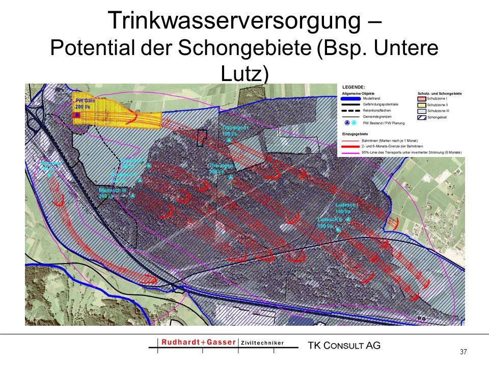 37 Trinkwasserversorgung – Potential der Schongebiete (Bsp. Untere Lutz)