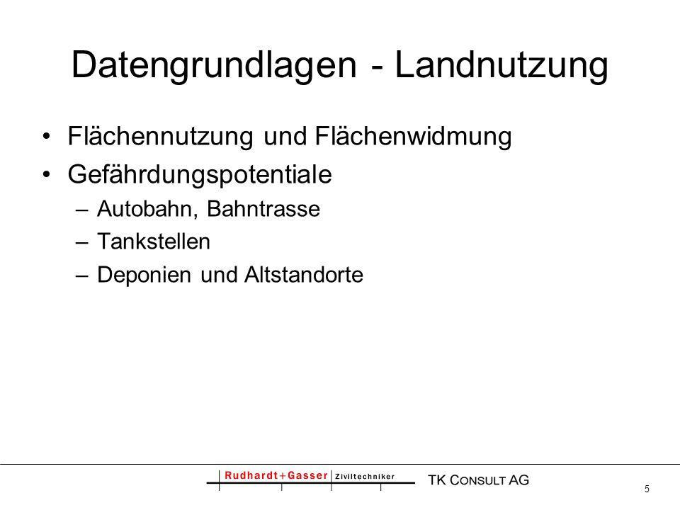 5 Datengrundlagen - Landnutzung Flächennutzung und Flächenwidmung Gefährdungspotentiale –Autobahn, Bahntrasse –Tankstellen –Deponien und Altstandorte