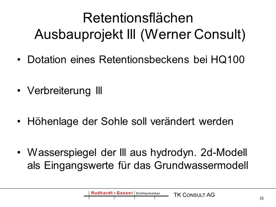 58 Retentionsflächen Ausbauprojekt Ill (Werner Consult) Dotation eines Retentionsbeckens bei HQ100 Verbreiterung Ill Höhenlage der Sohle soll veränder