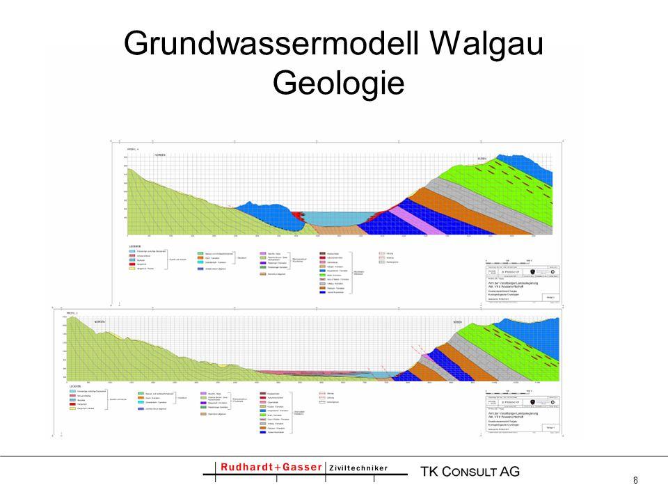 9 Grundwassermodell Walgau Modellaufbau Regional zweidimensional-horizontales Modell: -variable Parameter horizontal -vertikale Inhomogenitäten gemittelt Hydraulische Simulation mit SPRING (2008), Finite Elemente -ca.