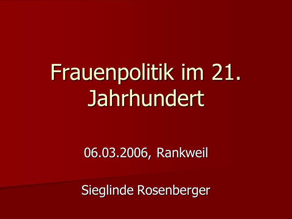 Frauenpolitik im 21. Jahrhundert 06.03.2006, Rankweil Sieglinde Rosenberger