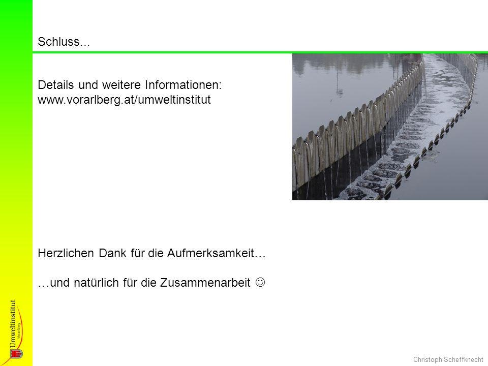Christoph Scheffknecht Herzlichen Dank für die Aufmerksamkeit… …und natürlich für die Zusammenarbeit Schluss... Details und weitere Informationen: www