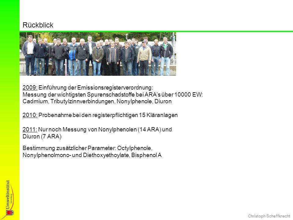 Christoph Scheffknecht Rückblick 2009: Einführung der Emissionsregisterverordnung: Messung der wichtigsten Spurenschadstoffe bei ARAs über 10000 EW: C