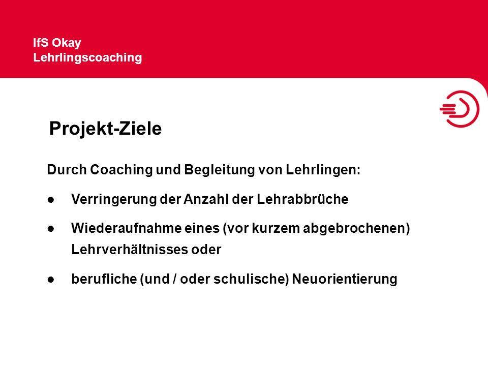 IfS Okay Lehrlingscoaching Projekt-Ziele Durch Coaching und Begleitung von Lehrlingen: Verringerung der Anzahl der Lehrabbrüche Wiederaufnahme eines (